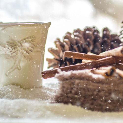 coffee cup with pine cones and cinnamon stick